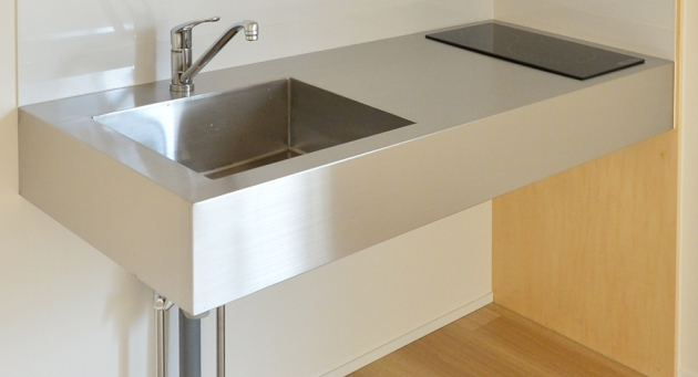stainless counter kitchen